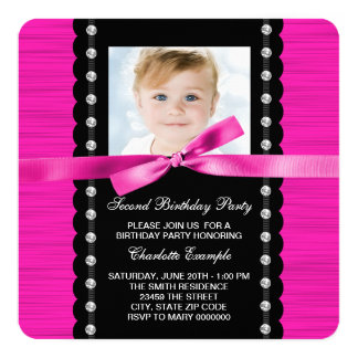 Hot Pink 2nd Birthday Party Card