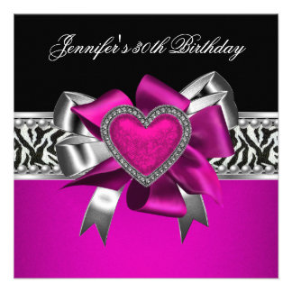 Hot Pink 30th Birthday Party Zebra Black Announcements