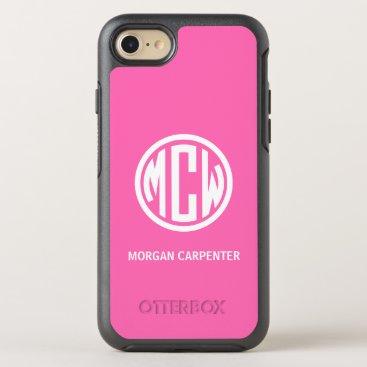 Hot Pink 3 Init White Circle Monogram Font DIY BG OtterBox Symmetry iPhone 8/7 Case