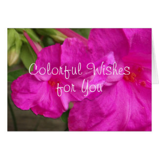 Hot Pink 4 O'clock Flowers-customize any occassion Card