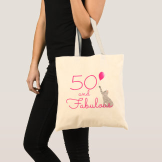 Hot Pink 50 And Fabulous Cat Lovers Birthday Tote