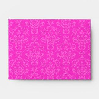Hot Pink A6 Damask Envelopes