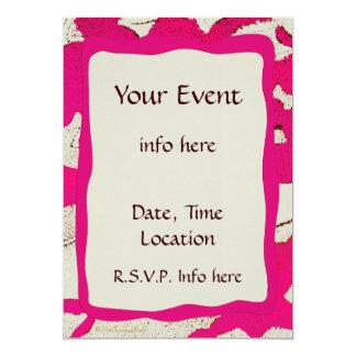 Hot Pink Abstract Border Print Artsy Invitations