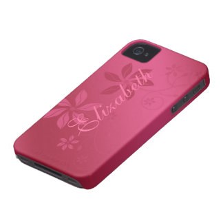 Hot Pink Abstract Floral Custom Name iPhone 4 Case