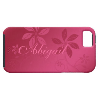 Hot Pink Abstract Floral Custom Name iPhone 5 Case