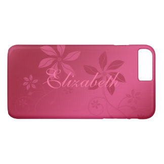 Hot Pink Abstract Floral Custom Name iPhone 7 Plus Case