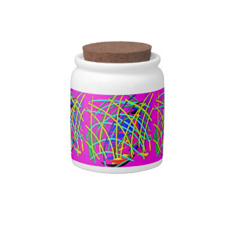 Hot Pink Abstract Girly Doodle Design Novelty Gift Candy Jars
