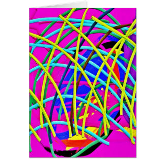 Hot Pink Abstract Girly Doodle Design Novelty Gift Greeting Card