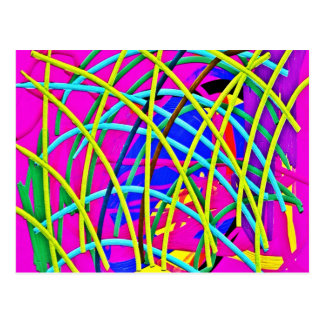 Hot Pink Abstract Girly Doodle Design Novelty Gift Postcard