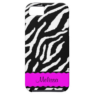 Hot Pink Accent With White And Black Tiger Print iPhone SE/5/5s Case