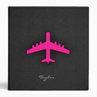 Hot Pink Airplane 3 Ring Binders