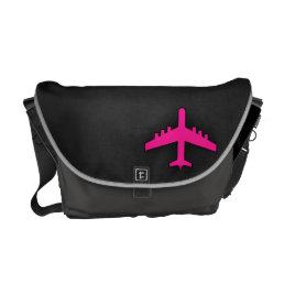Hot Pink Airplane Messenger Bag