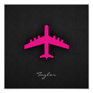 Hot Pink Airplane Poster