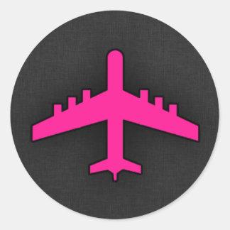 Hot Pink Airplane Round Sticker