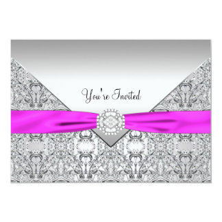 Hot Pink All Occasion Party Template 5x7 Paper Invitation Card