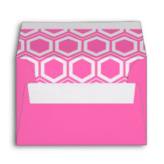 Hot Pink an White Honeycomb Pattern Envelope