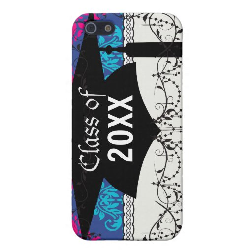hot pink and aqua blue navy ornate damask iPhone 5 cases
