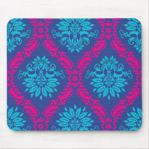 hot pink and aqua blue navy ornate damask mouse pad