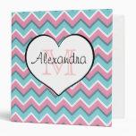 hot pink and aqua blue zigzag pattern monogram 1'5 binder