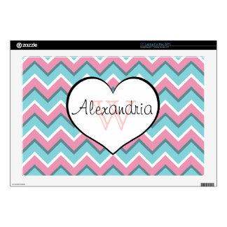 """hot pink and aqua blue zigzag pattern monogram decal for 17"""" laptop"""