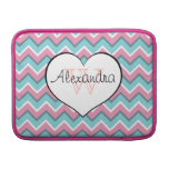 hot pink and aqua blue zigzag pattern monogram MacBook air sleeve
