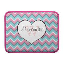 hot pink and aqua blue zigzag pattern monogram sleeve for MacBook air