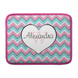 hot pink and aqua blue zigzag pattern monogram sleeve for MacBook air
