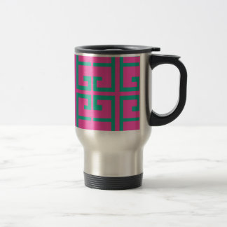 Hot Pink and Aqua Tile Travel Mug