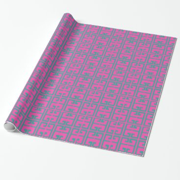 Beach Themed Hot Pink and Aqua Tile Wrapping Paper