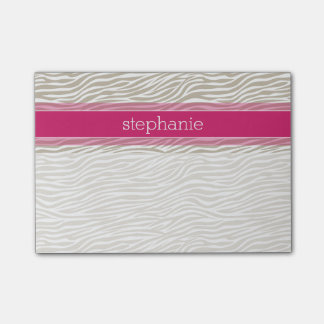 Hot Pink and Beige Funky Zebra Pattern Post-it® Notes