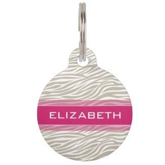 Hot Pink and Beige Girly Zebra Stripe Pattern Pet ID Tag
