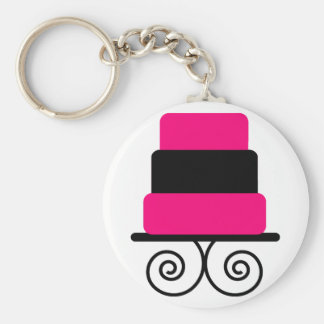 Hot Pink and Black 3 Tier Cake Keychain