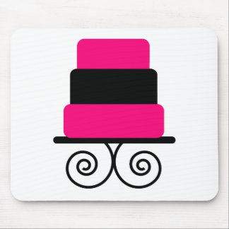 Hot Pink and Black 3 Tier Cake Mouse Pad