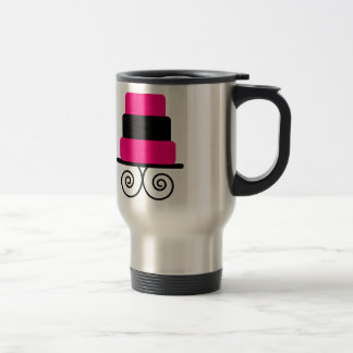 Hot Pink and Black 3 Tier Cake 15 Oz Stainless Steel Travel Mug