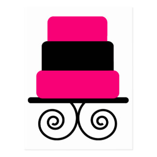 Hot Pink and Black 3 Tier Cake Postcard