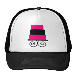 Hot Pink and Black 3 Tier Cake Trucker Hat