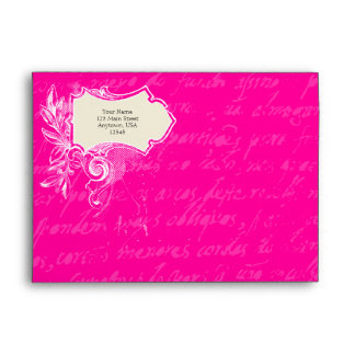 Hot Pink and Black A7 Vintage Script Envelopes