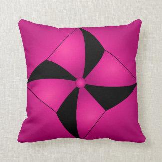 Hot Pink and Black Abstract Petunia Pillow