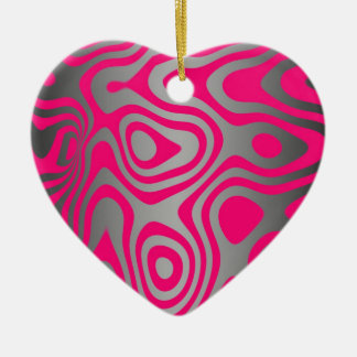 Hot Pink and Black Abstract Swirls Ceramic Ornament