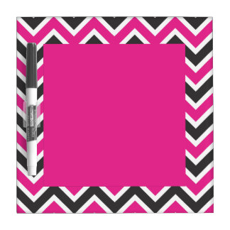 Hot Pink and Black and White Chevrons Dry-Erase Whiteboard