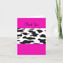 Hot Pink and Black and White Cow Thank You