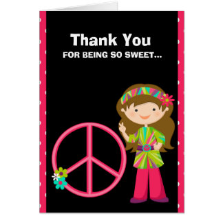 Hot Pink and Black and White Zebra Thank You Card