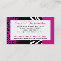 Hot Pink and Black Animal Print Zebra and Leopard Business Card