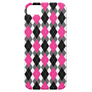 Hot Pink and Black Argyle iPhone 5 Case