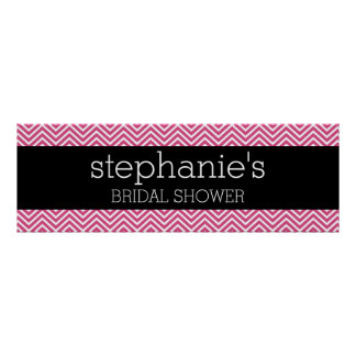 Hot Pink and Black Bridal Shower Chevrons Print