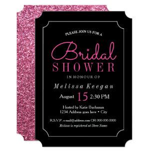 hot pink and black bridal shower invitations