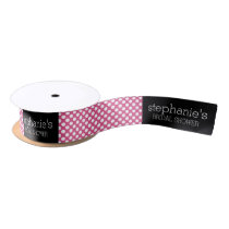 Hot Pink and Black Bridal Shower Preppy Pattern Satin Ribbon