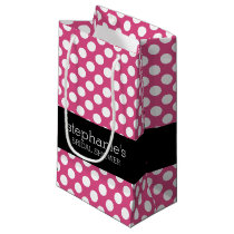 Hot Pink and Black Bridal Shower Preppy Pattern Small Gift Bag