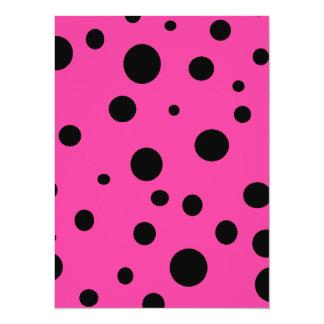 Hot Pink and Black Bubbles Polka Dots Fun Card