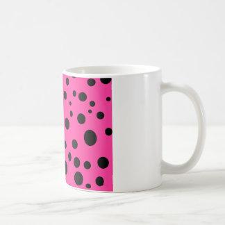 Hot Pink and Black Bubbles Polka Dots Fun Coffee Mug